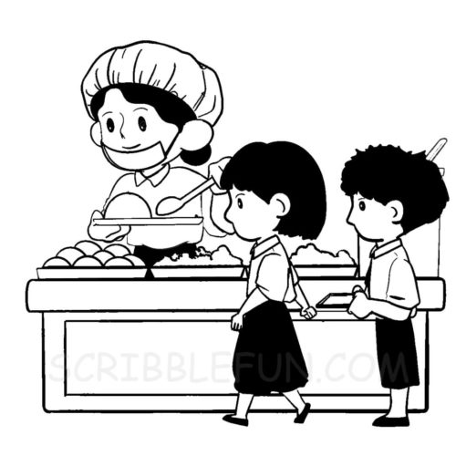School Canteen coloring page