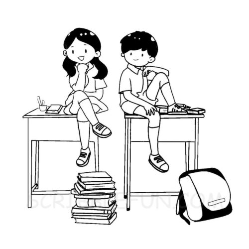 School friends coloring page