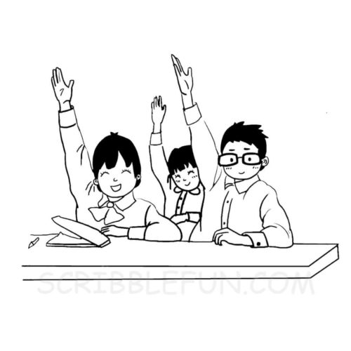 Students at class coloring page