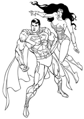 Superman and Wonder Woman coloring page