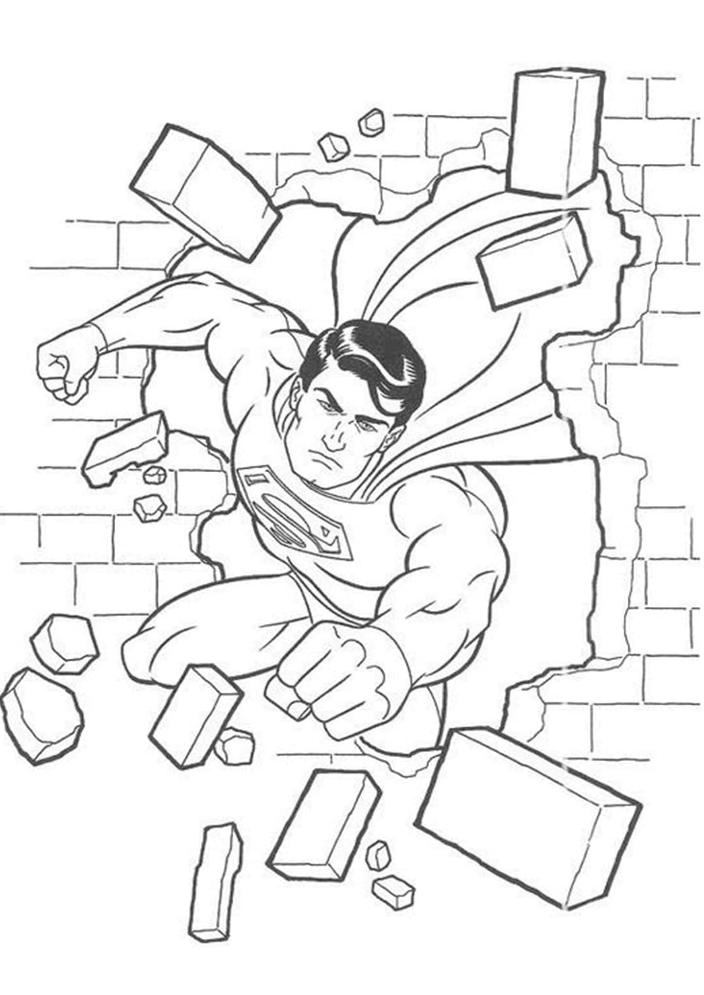 Superman breaking through the wall