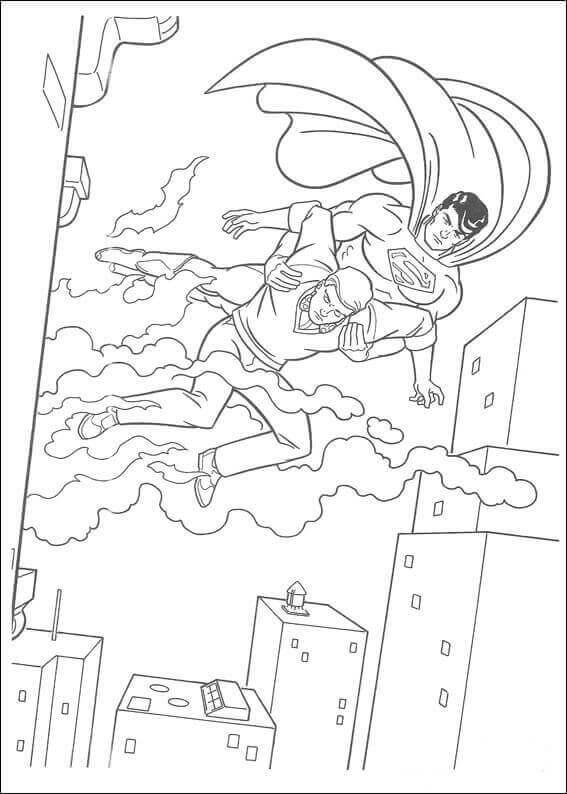 Superman saving a man