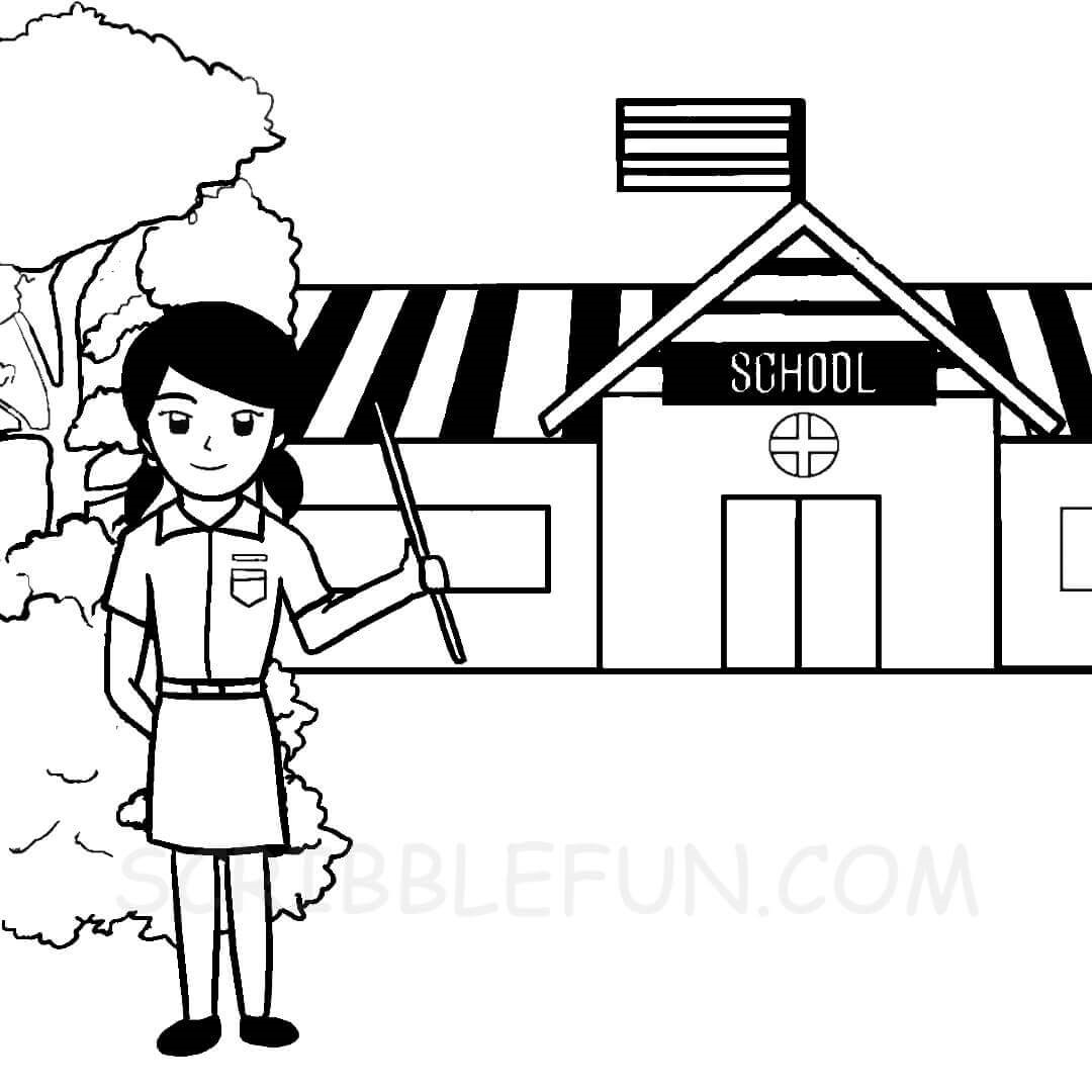 Teacher at school coloring page