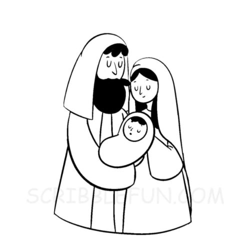 Baby Jesus with Mother Mary and Joseph coloring page