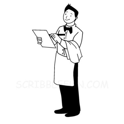 Communit helper waiter coloring page