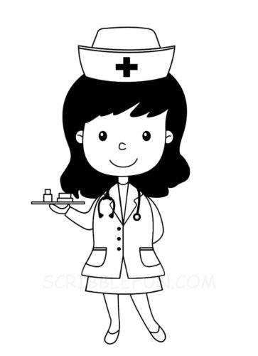 Community helper nurse coloring page