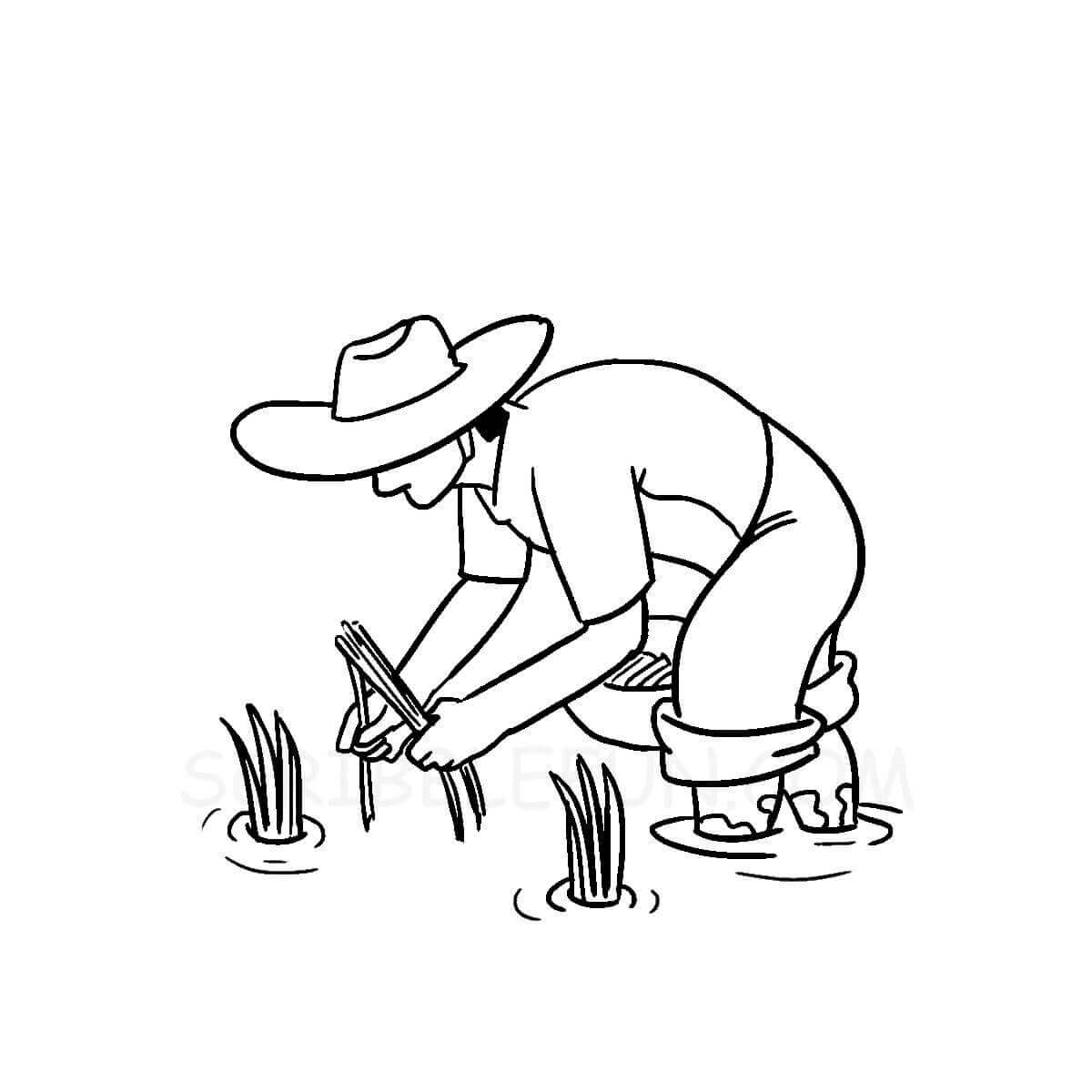 Community helpers coloring page farmer
