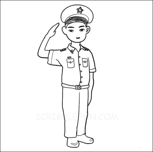 Comunity helpers coloring pages military