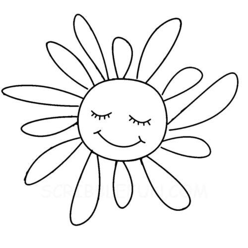 Cute sun coloring page
