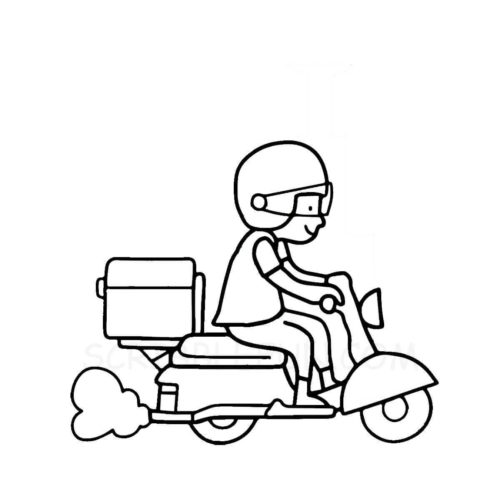 Food delivery boy coloring page