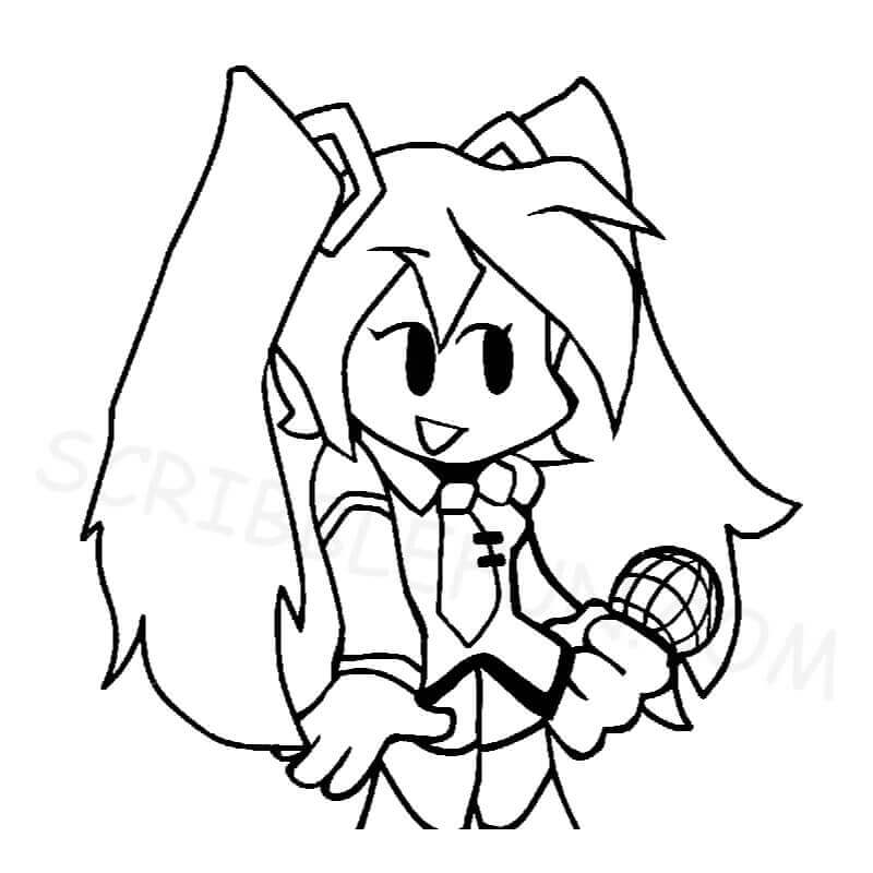 Friday Night Funkin Miku coloring page