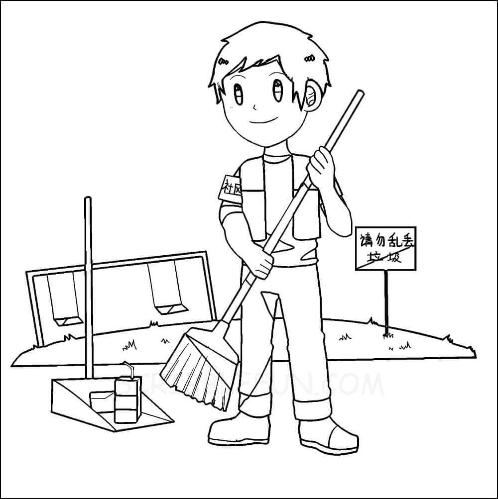 Garbage collector coloring page