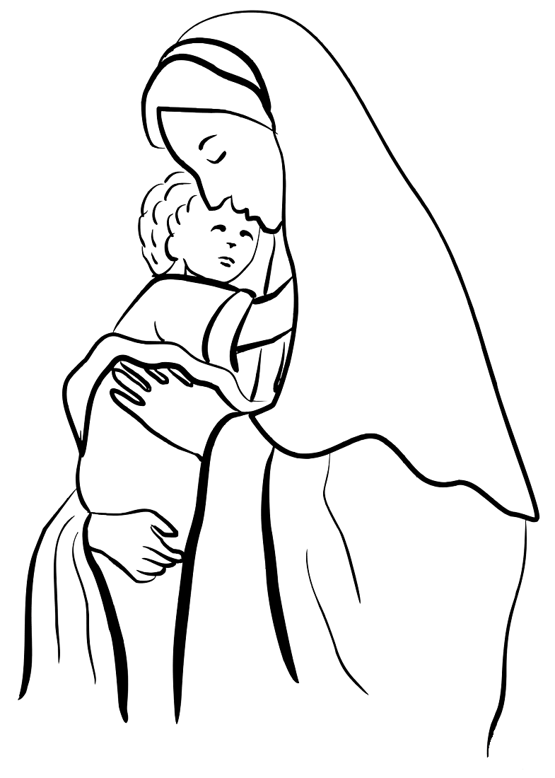 Mother Mary And Jesus coloring page