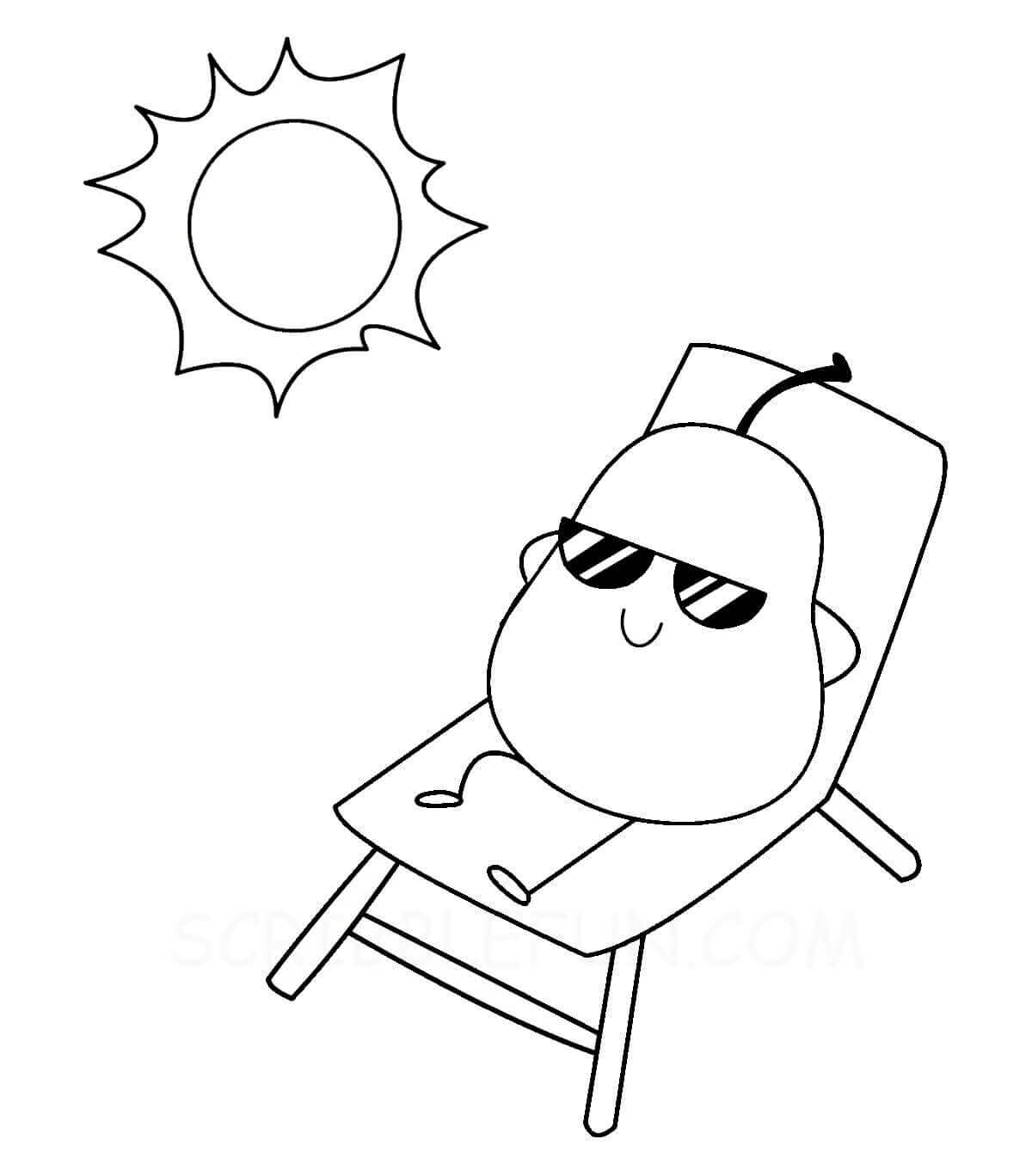 Pear and sun coloring page