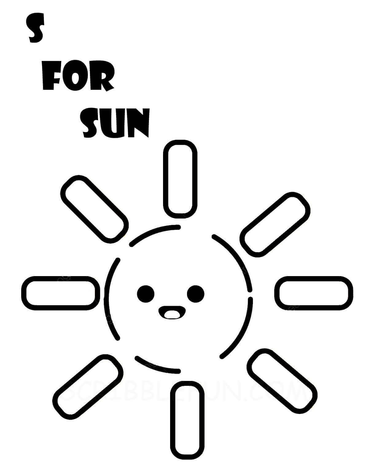 S for Sun coloring page