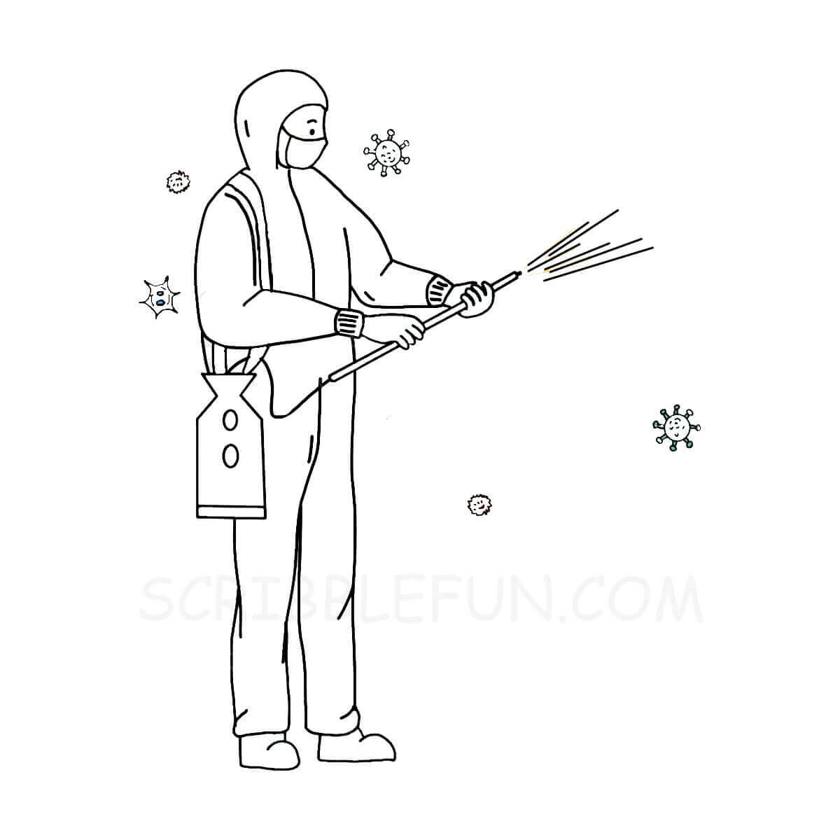 Sanitation worker coloring page