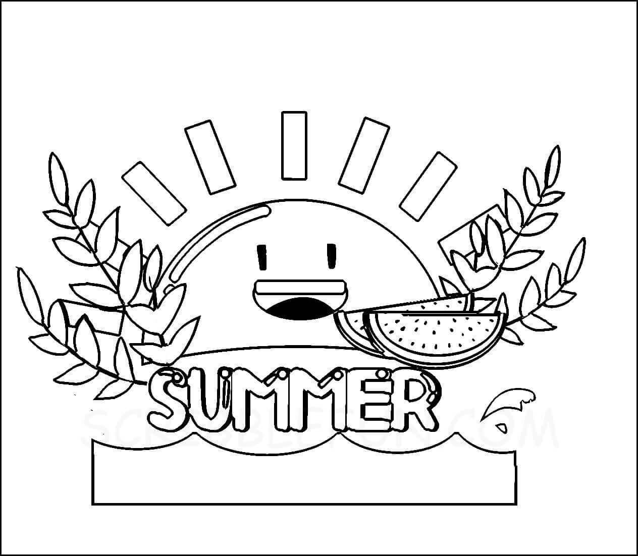 Summer sun coloring sheet