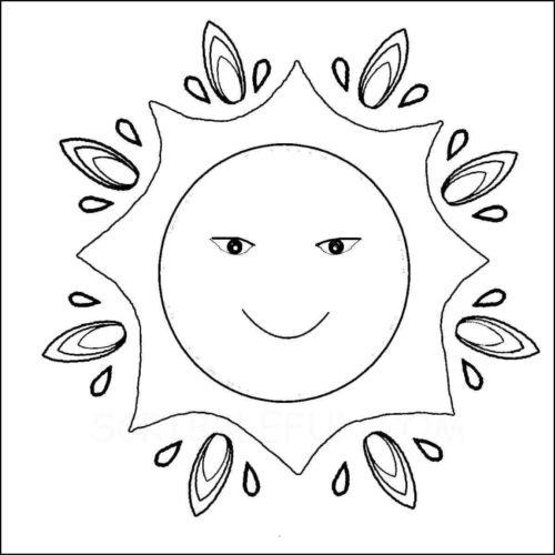 Sun goddess coloring page