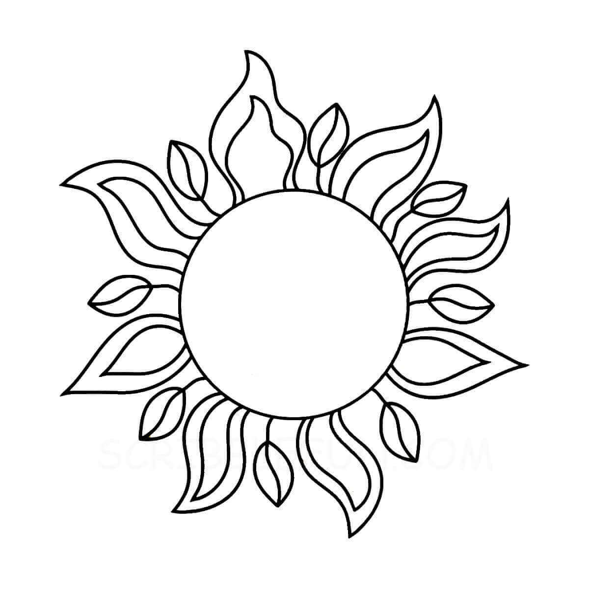 Sun shaped as a flower coloring page