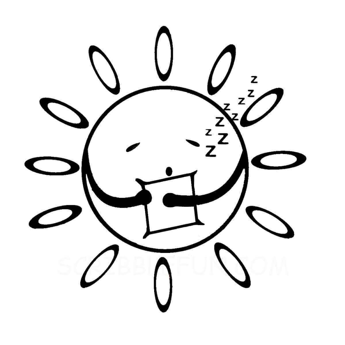 Sun sleeping colouring page