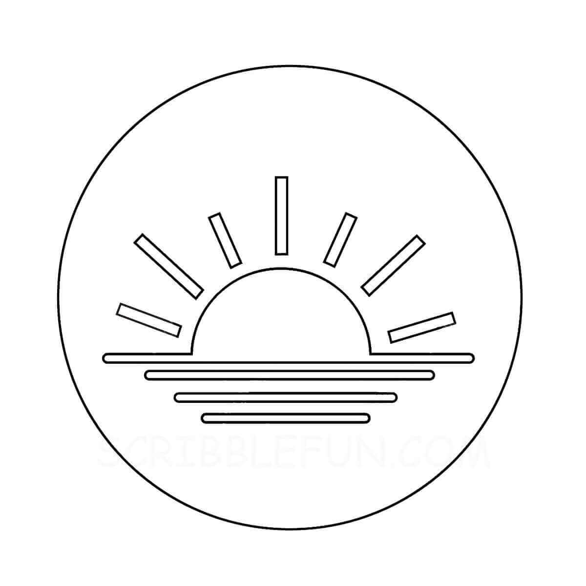 Sunset coloring page