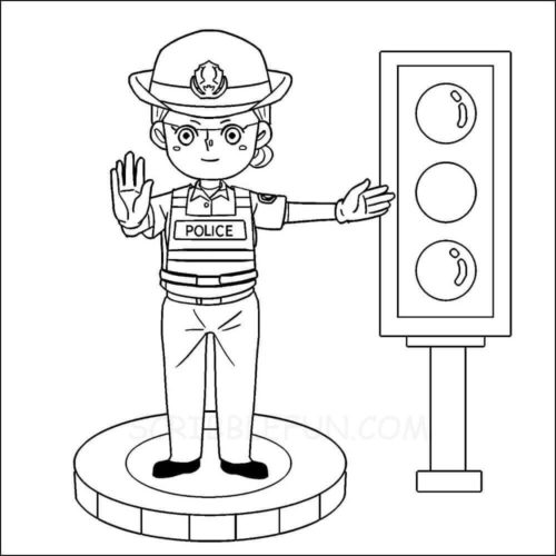 Traffic police coloring page community helper