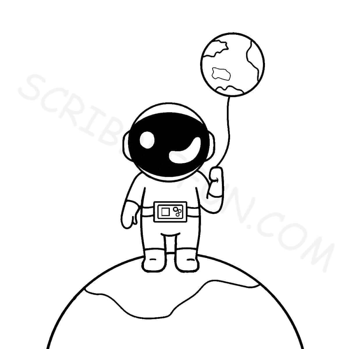 An astronaut with earth shaped balloon