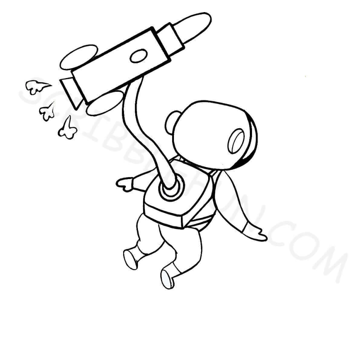 Astronaut and rocket coloring page