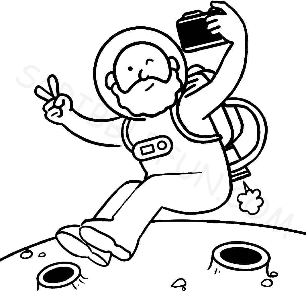 Astronaut clicking a selfie coloring page