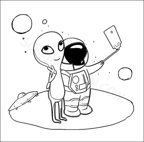 Astronaut clicking a selfie with alien