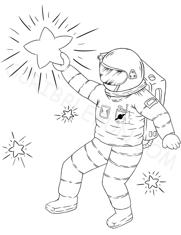 Astronaut holding a star