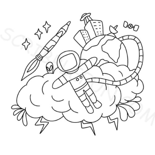 Astronaut in space coloring page