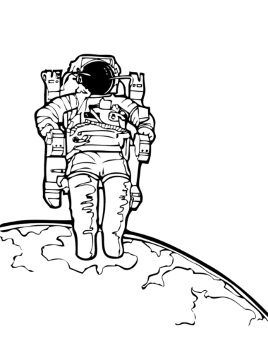 Cosmonaut in the outer space coloring page