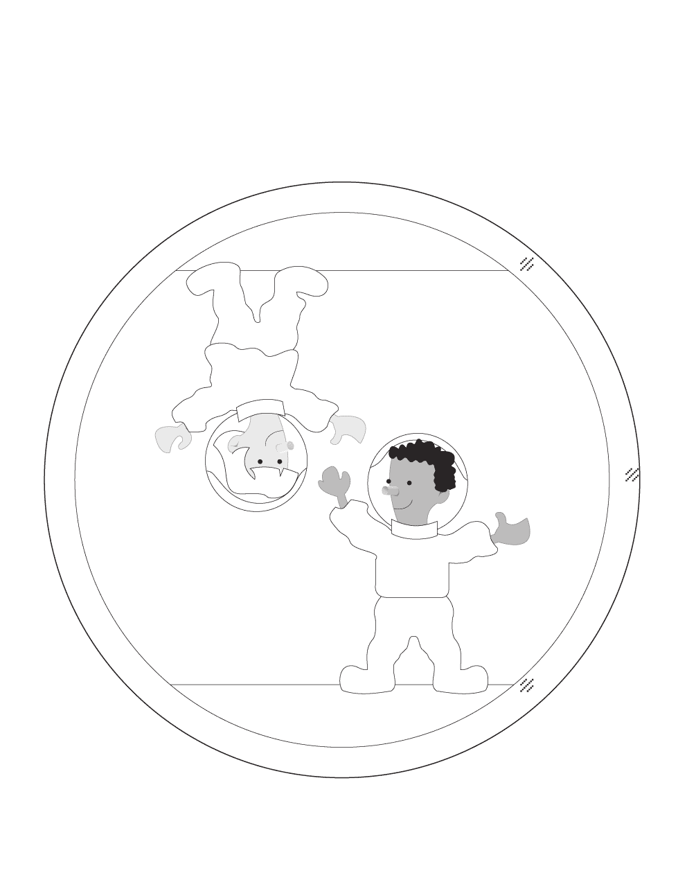 Floating astronauts coloring page
