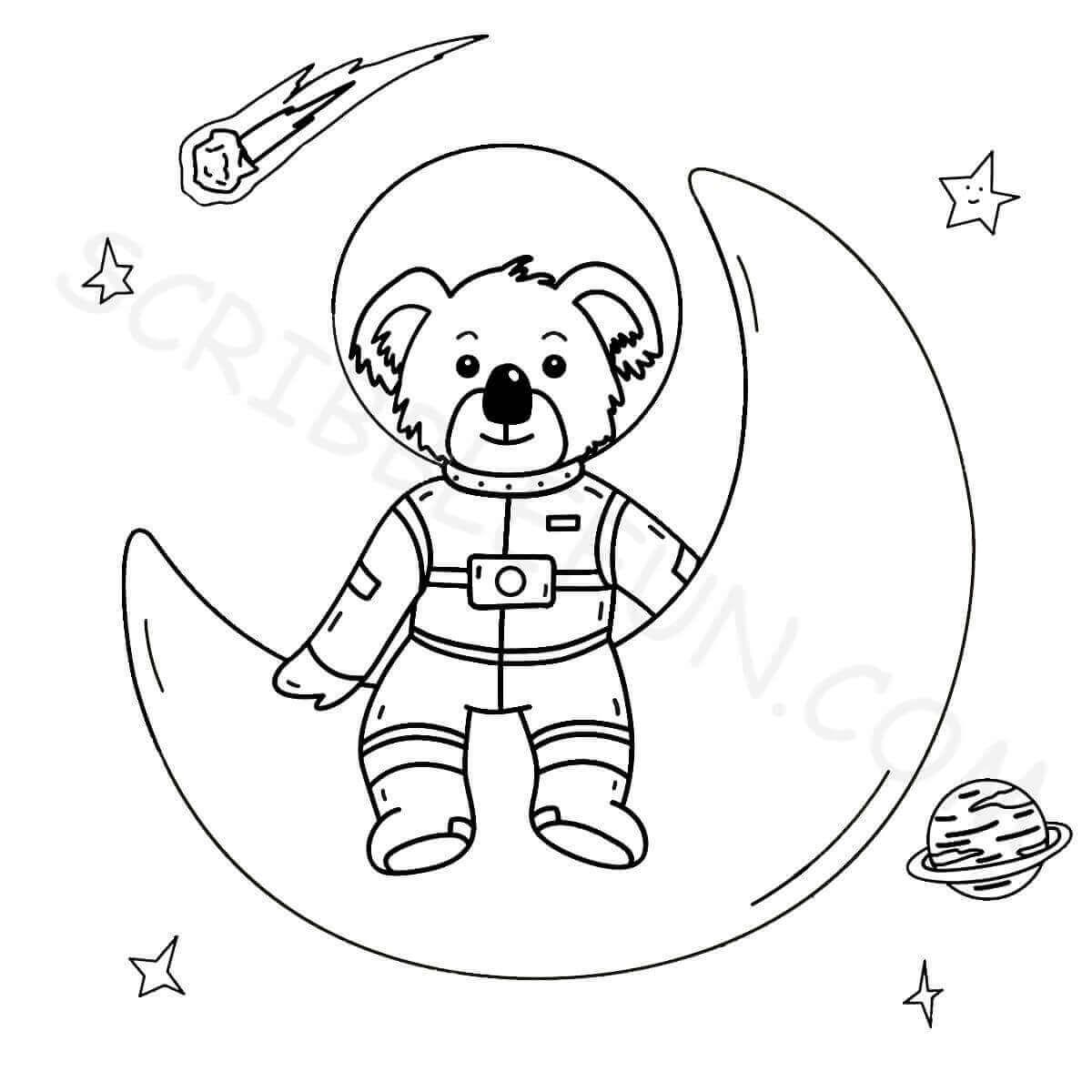 Koala Astronaut On Moon