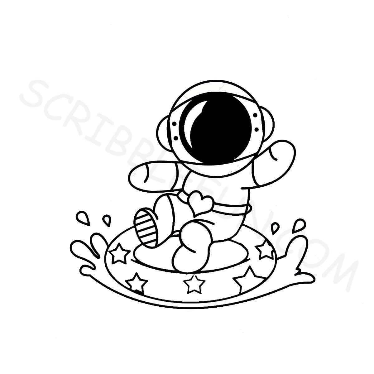 Spaceman enjoying the waves