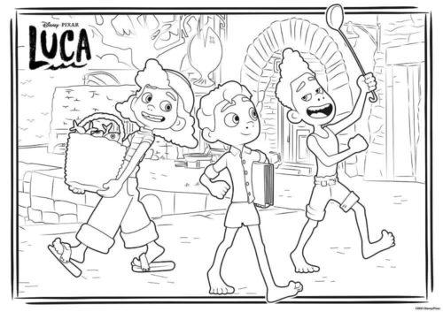 Luca Alberto and Giulia coloring page