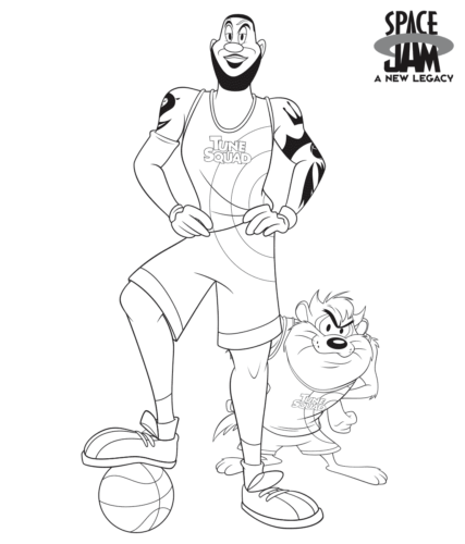 LeBron James and Tasmanian Devil coloring page