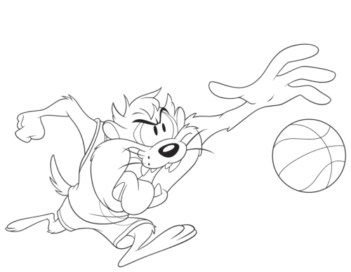 Tasmanian Devil from Space Jam A New Legacy colouring pages