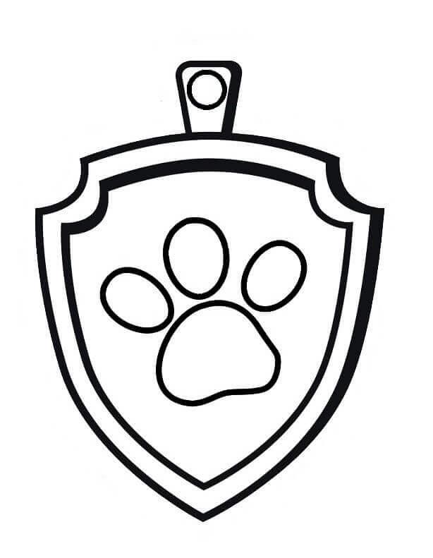 Paw Patrol badge coloring page