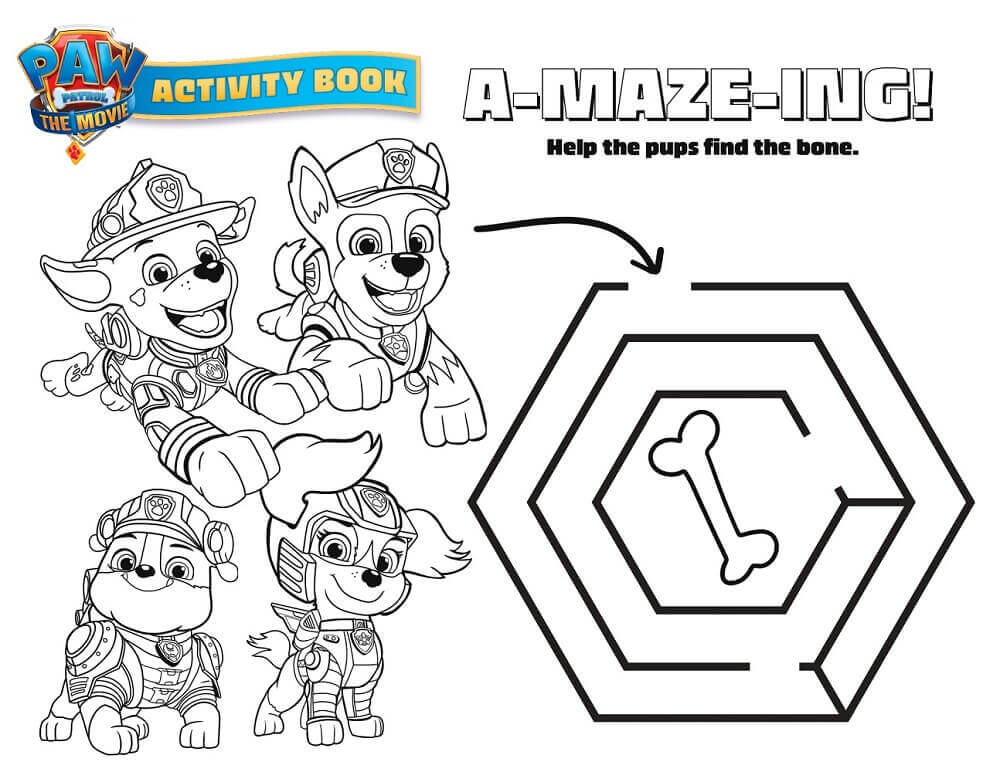 Paw Patrol the movie activity sheet for kids