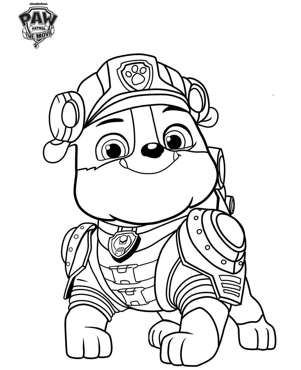 Rubble From Paw Patrol movie coloring page